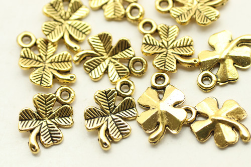 4 LEAF CLOVER, Double Sided, 15x10x2mm, Antique Gold Plated (metal alloy), approx 40 per bag