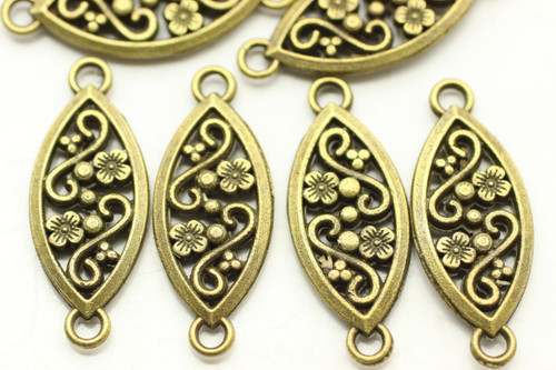 CONNECTOR, Ornate Oval, Double Sided, 27x10x2.5mm, Antique Bronze Plated (metal alloy), approx 18 per bag