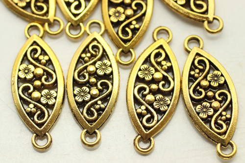 CONNECTOR, Ornate Oval, Double Sided, 27x10x2.5mm, Antique Gold Plated (metal alloy), approx 18 per bag