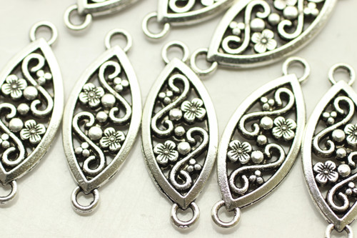 CONNECTOR, Ornate Oval, Double Sided, 27x10x2.5mm, Antique Silver Plated (metal alloy), approx 18 per bag