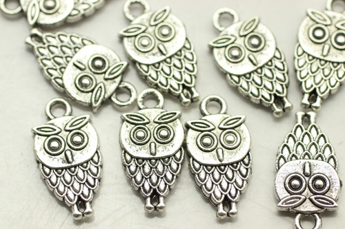 OWL, Double Sided, 18x9x3mm, Antique Silver Plated (metal alloy), approx 20 per bag