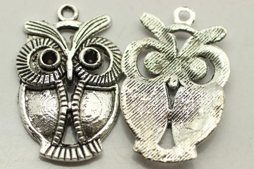 OWL, 34x22x3mm, Antique Silver Plated (metal alloy), approx 6 per bag
