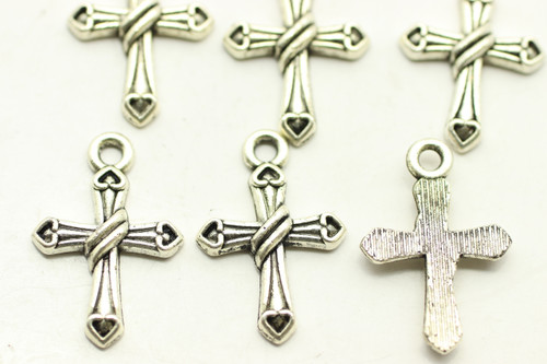 CROSS, Ornate, 21x14x3mm, Antique Silver Plated (metal alloy), approx 26 per bag