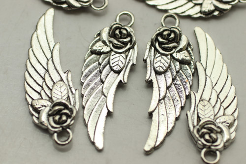 WING, Rose, Double Sided, 31x11x3mm, Antique Silver Plated (metal alloy), approx 12 per bag