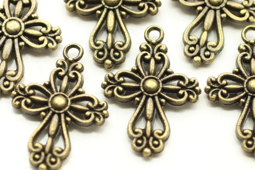 CROSS, Filigree, Double Sided, 28x20x4mm, Antique Bronze Plated (metal alloy), approx 10 per bag
