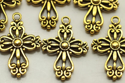 CROSS, Filigree, Double Sided, 28x20x4mm, Antique Gold Plated (metal alloy), approx 10 per bag