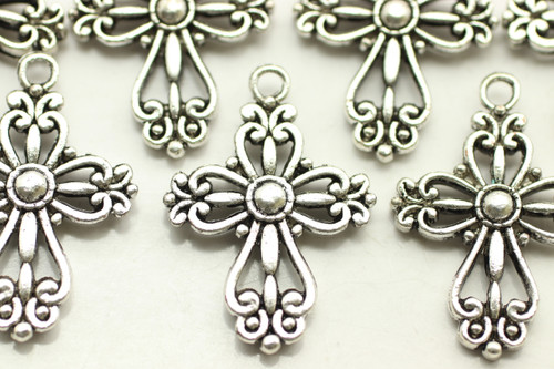 CROSS, Filigree, Double Sided, 28x20x4mm, Antique Silver Plated (metal alloy), approx 10 per bag