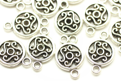 CONNECTOR, Round Celtic, Double Sided, 19x12x3mm, Antique Silver Plated (metal alloy), approx 22 per bag