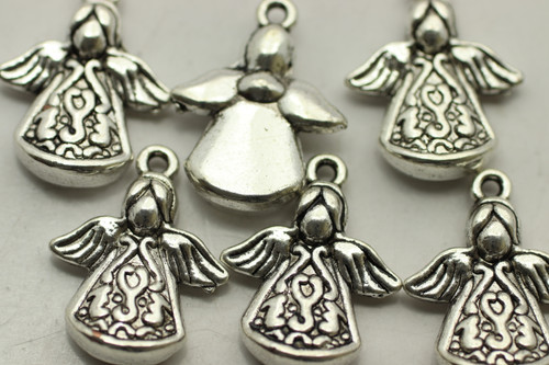 ANGEL, Drop, Double Sided, 22x18x5mm, Antique Silver Plated (metal alloy), approx 8 per bag