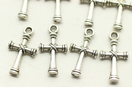 CROSS, Tie Design, Double Sided, 20x11x3mm, Antique Silver Plated (metal alloy), approx 28 per bag