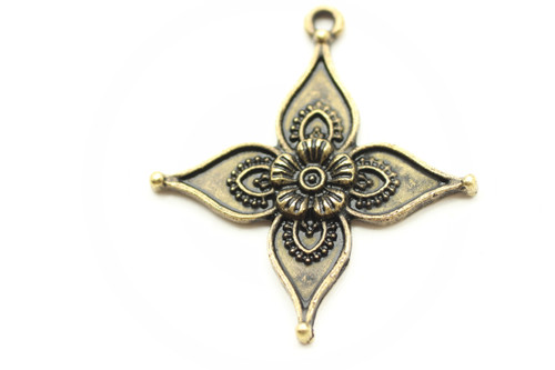 FLORAL, 4 Point, 35x33x2.5mm, Antique Bronze Plated (metal alloy), approx 6 per bag