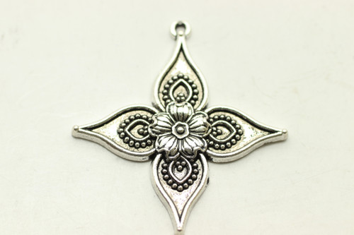 FLORAL, 4 Point, 35x33x2.5mm, Antique Silver Plated (metal alloy), approx 6 per bag
