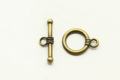 TOGGLE, 15x12x1.5mm bar is 20x5mm at loop, Antique Bronze Plated (Metal Alloy), approx 24 sets