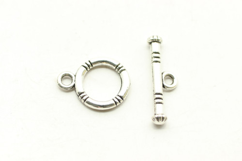 TOGGLE, 15x12x2mm bar is 20x5mm at loop, Antique Silver Plated (Metal Alloy), approx 20 sets