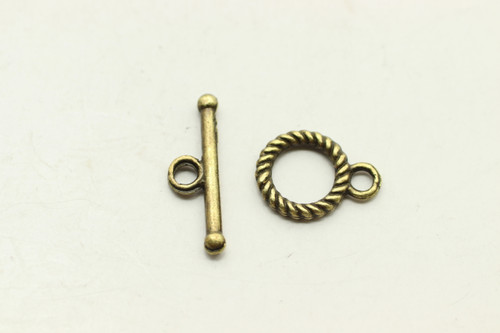 TOGGLE, 12x9x1.5mm bar is 18x5mm at loop, Antique Bronze Plated (Metal Alloy), approx 30 sets