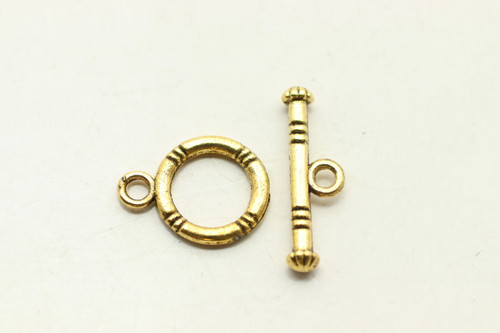 TOGGLE, 16x11x2mm bar is 19x5mm at loop, Antique Gold Plated (Metal Alloy), approx 20 sets