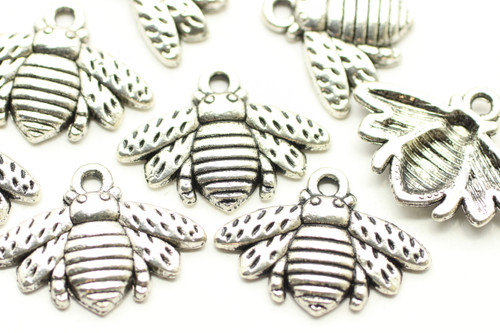 BEE, 22x16x3mm, Antique Silver Plated (Metal Alloy), approx 15