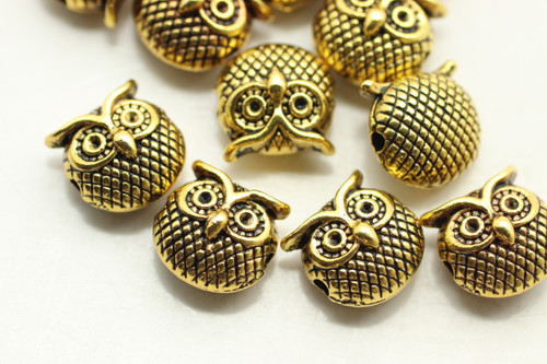 OWL,  Double Sided, 10x11x7mm, Antique Gold Plated (Metal Alloy), approx 11