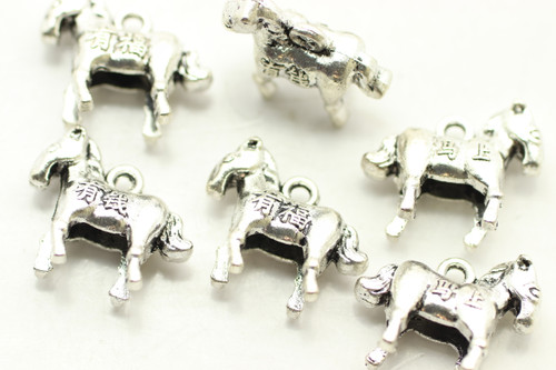 HORSE, Double Sided, 16x12x6mm, Antique Silver Plated (Metal Alloy), approx 14