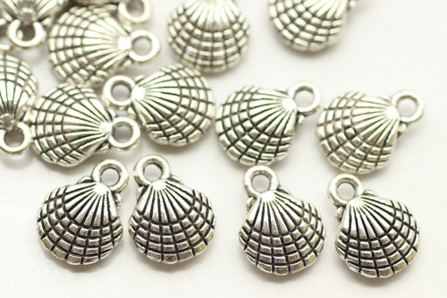 CLAM SHELL, Double Sided, 12x10x3.5mm, Antique Silver Plated (Metal Alloy), approx 24