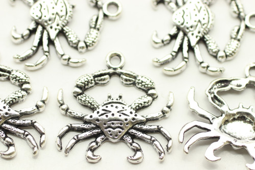 CRAB, 23x23x2.5mm, Antique Silver Plated (Metal Alloy), approx 10
