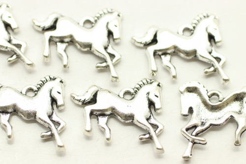 HORSE, 23x13x2mm, Antique Silver Plated (Metal Alloy), approx 17