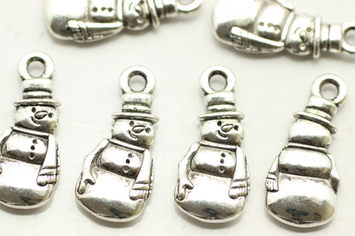 Snowman, Full, Double Sided, 22x10x3mm, Antique Silver Plated (Metal Alloy), approx 19 per bag