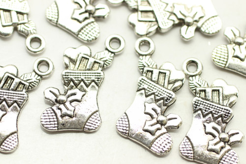 Stocking with Gifts, Double Sided, 22x12x2mm, Antique Silver Plated (Metal Alloy), approx 20 per bag