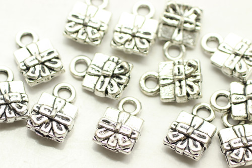 Present Box with Box, Double Sided, 12x8x4mm, Antique Silver Plated (Metal Alloy), approx 30 per bag