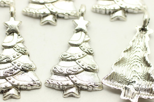 Christmas Tree, 30x18x2mm, Antique Silver Plated (Metal Alloy), approx 7 per bag