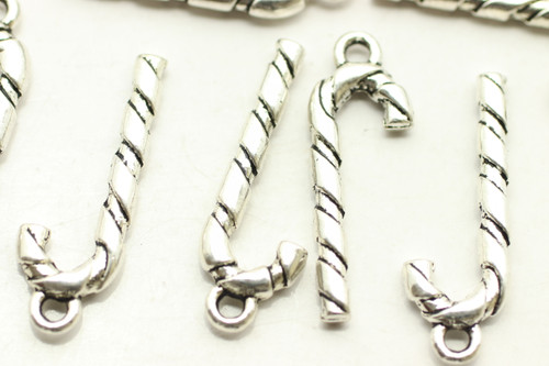 Candy Cane, Double Sided, 27x9x3mm, Antique Silver Plated (Metal Alloy), approx 24 per bag