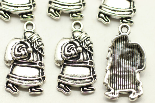 Santa with Bag, Full, 23x12x4mm, Antique Silver Plated (Metal Alloy), approx 15 per bag