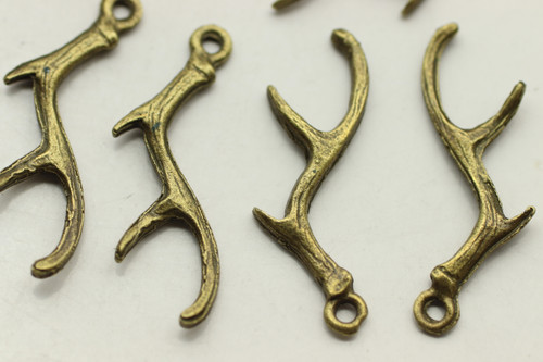 Antlers, Double Sided, Antique Bronze Plated (Metal Alloy), approx 28 per bag