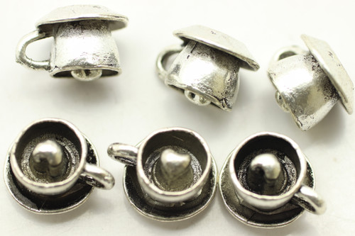 Coffee Cup & Saucer, Double Sided, 10x12mm, Antique Silver Plated (Metal Alloy), approx 19 per bag