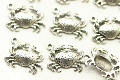 Crab, 17x10x3mm, Antique Silver Plated (Metal Alloy), approx 28 per bag