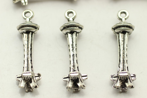 Space Needle, Double Sided, 26x8mm, Antique Silver Plated (Metal Alloy), approx 19 per bag