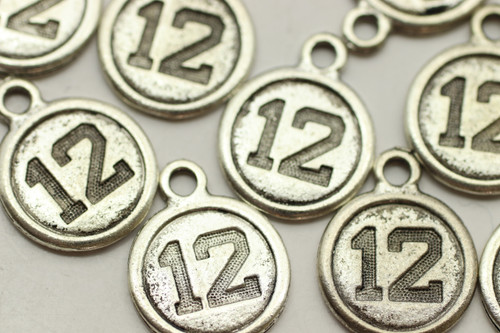 #12, Round, Double Sided, 19x15x2mm, Antique Silver Plated (Metal Alloy), approx 16 per bag