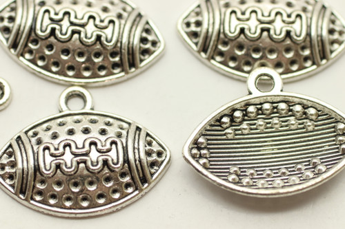 Football, 19x25x4mm, Antique Silver Plated (Metal Alloy), approx 12 per bag
