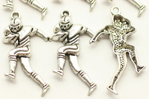 Running Football Player, 30x16x3mm, Antique Silver Plated (Metal Alloy), approx 12 per bag