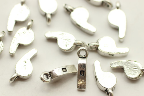 Whistle, Double Sided, 12x6x3mm, Antique Silver Plated (Metal Alloy), approx 30 per bag