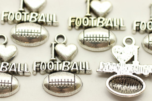 """I Heart Football"" on top of Football, 20x18x3mm, Antique Silver Plated (Metal Alloy), approx 12 per bag"