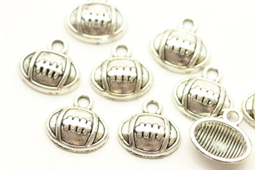 Football, Drop on end, 12x12x3mm, Antique Silver Plated (Metal Alloy), approx 43 per bag