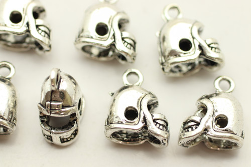 Helmet, Whole, Double Sided, 13x12x7mm, Antique Silver Plated (Metal Alloy), approx 13 per bag