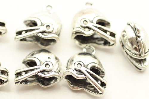 Helmet, Whole, Double Sided, 14x15x8mm, Antique Silver Plated (Metal Alloy), approx 10 per bag