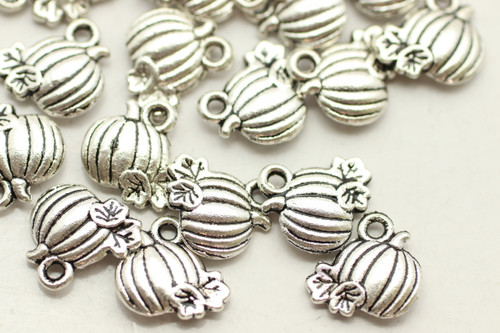Pumpkin, Double Sided, 10x10x3mm, Antique Silver Plated (Metal Alloy), approx 39 per bag