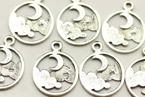 Moon & Clouds, Double Sided, 19x15x1mm, Antique Silver Plated (Metal Alloy), approx 29 per bag