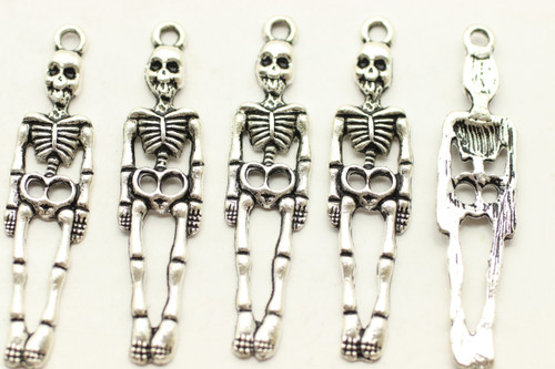 Hanging Skelton, 39x9x2mm, Antique Silver Plated (Metal Alloy), approx 12 per bag