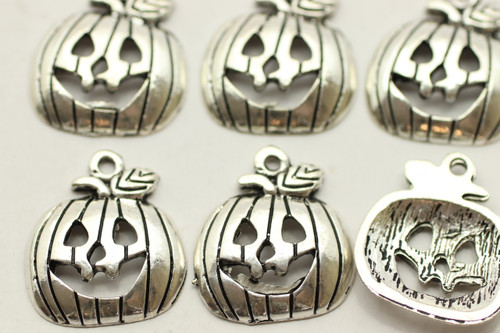 Jack o Lantern, 18x16x3mm, Antique Silver Plated (Metal Alloy), approx 15 per bag