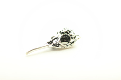 Floral Bird Skull, Double Sided, 41x13x11mm, Antique Silver Plated (Metal Alloy), approx 3 per bag
