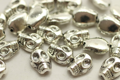 Small Skull, Double Sided, 8x6x3mm, Antique Silver Plated (Metal Alloy), approx 45 per bag